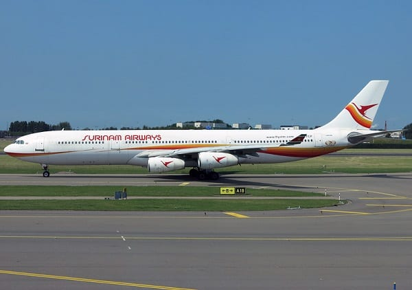 surinam airways, slm, suriname, airbus a340