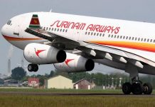 slm, airbus a340, surinam airways, suriname