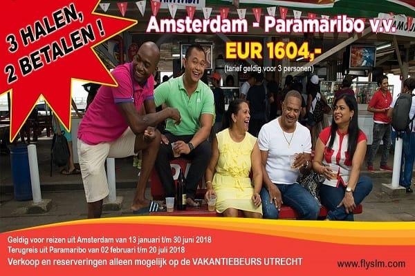 slm, suriname, amsterdam, vakantiebeurs, utrecht, 2018, aanbieding, 3 halen 2 betalen, vliegticket