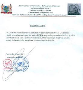 geen vergunningen thaiboksevenementen in suriname, april 2019