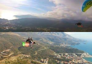paragliden, afghaanse en surinaamse vlag