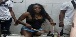 surinaamse vrouw, drumstel-