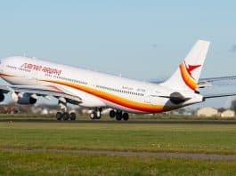 surinam airways, slm, airbus a340. pz tcr, suriname, opstijgen
