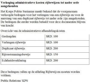 verhoging kosten rijbewijs suriname