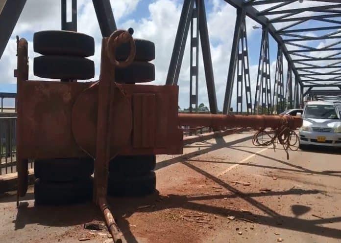 verkeersongeval op Saronbrug, suriname, februari 2019